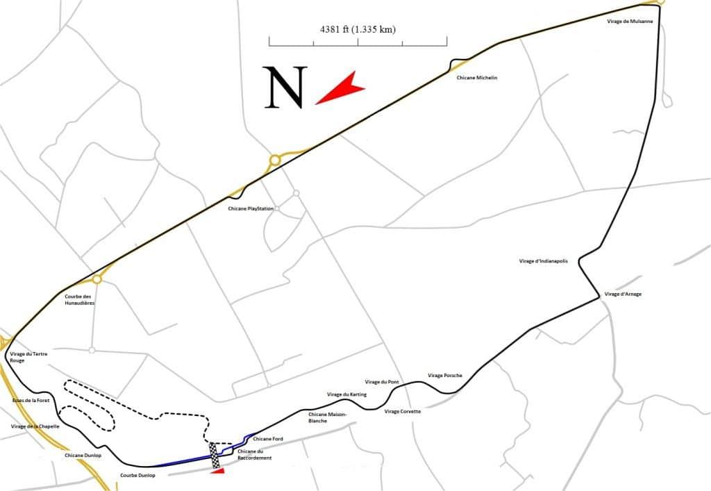 Tracé du Circuit du Mans - Willag- Wikipédia