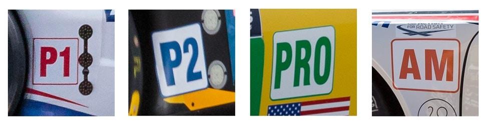 Logo catégories : LM P1 - LM P2 - LM GTE Pro - LM GTE Am