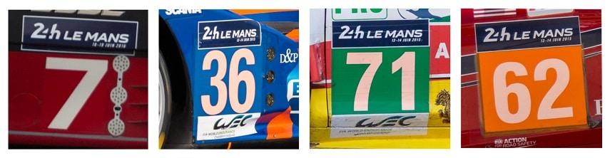 Numéro catégories : LM P1 - LM P2 - LM GTE Pro - LM GTE Am